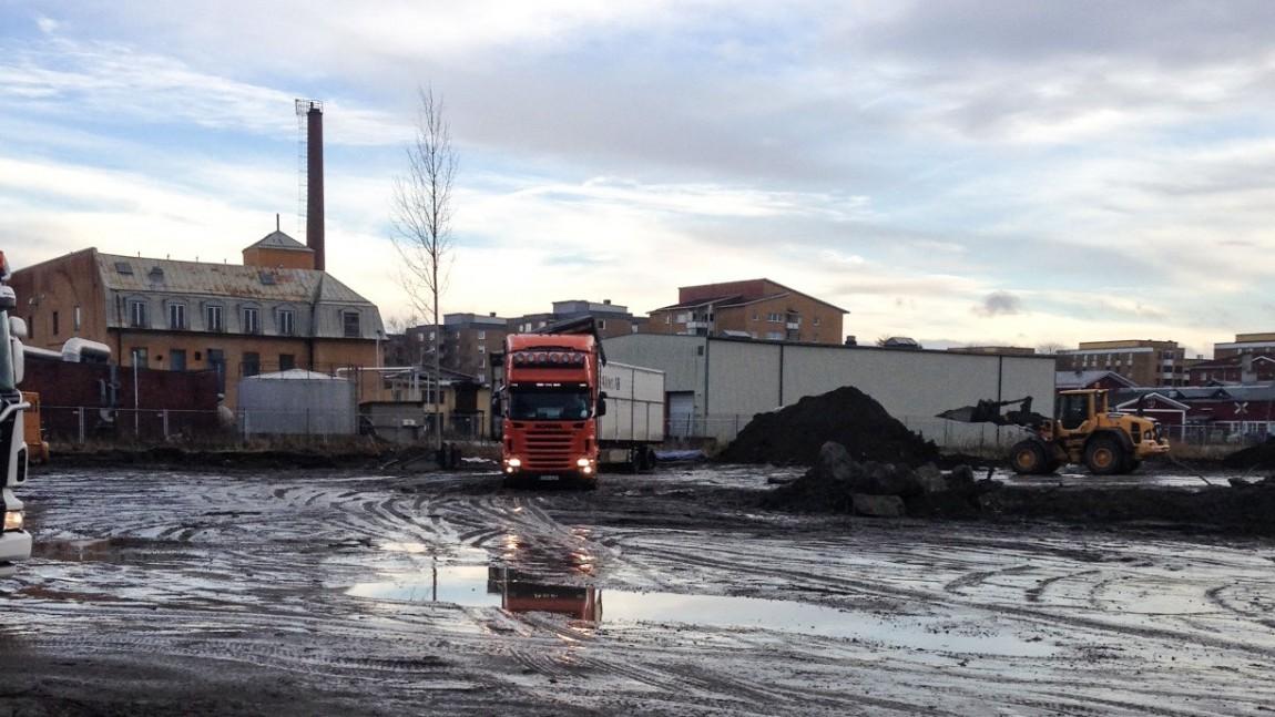 Transport från Philipssons tomten i Gävle